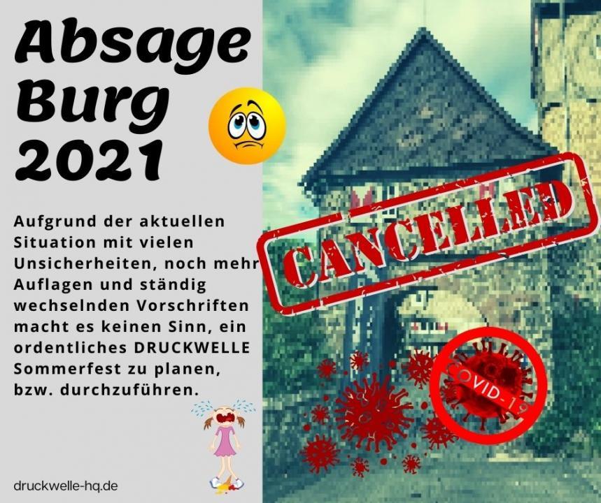 DRUCKWELLE Burg 2021 abgesagt